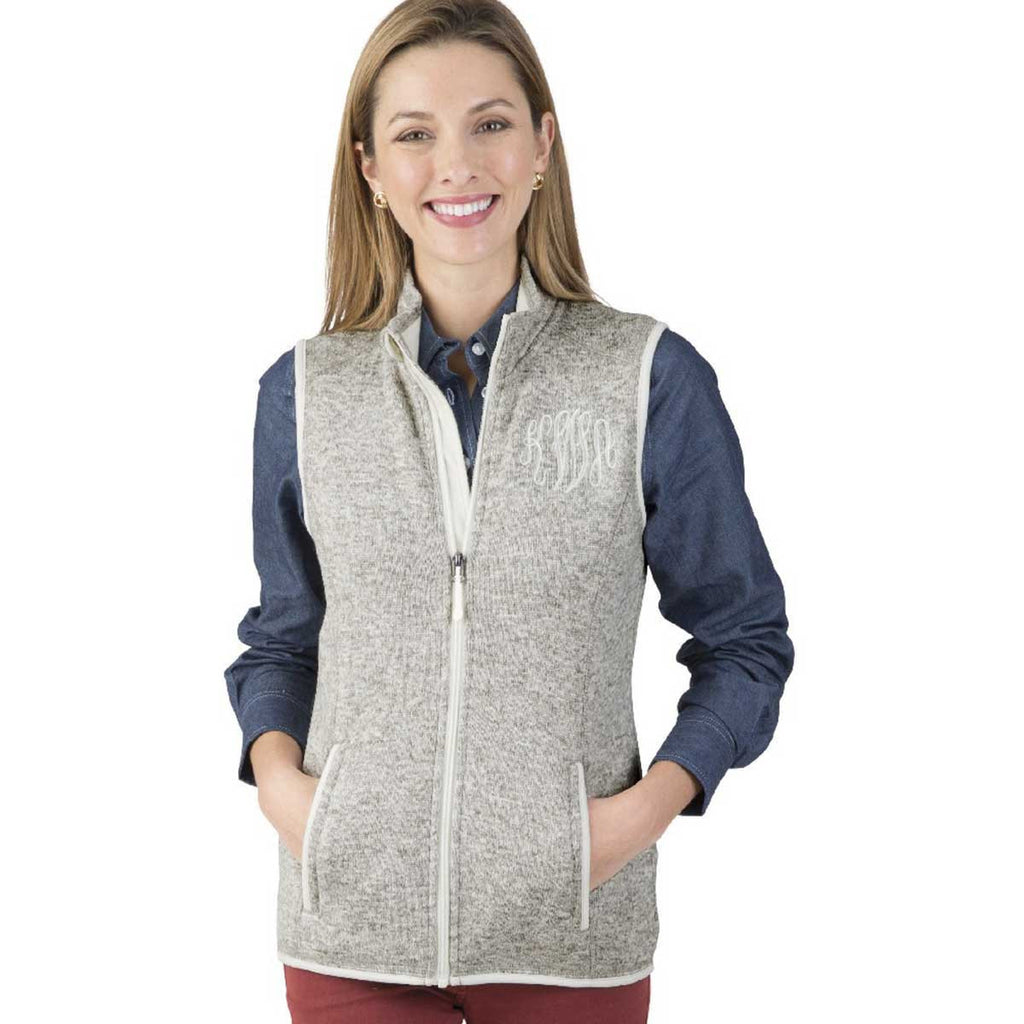 Charles River Women's Light Grey Heather Pacific Heathered Fleece Vest