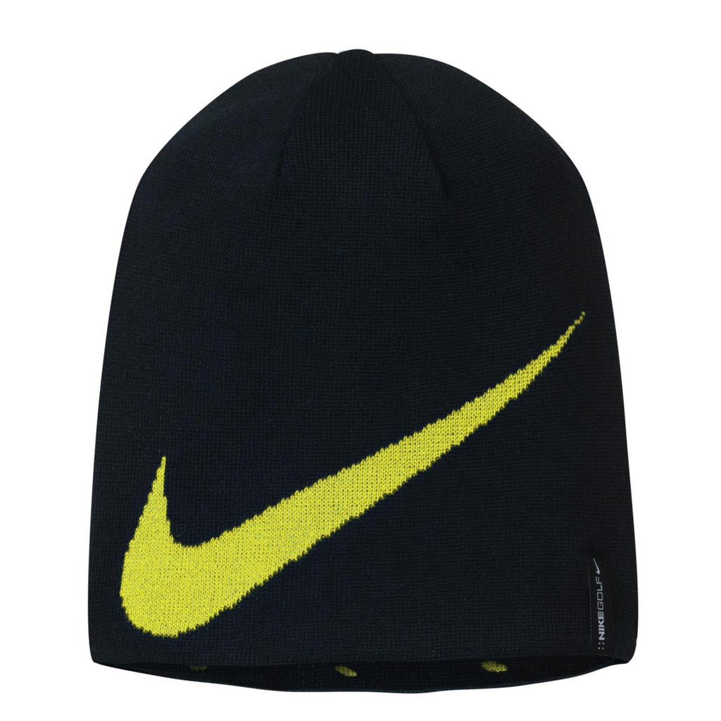 new product 27127 79fcb Nike Golf Reversible Black Bright Yellow Knit Hat