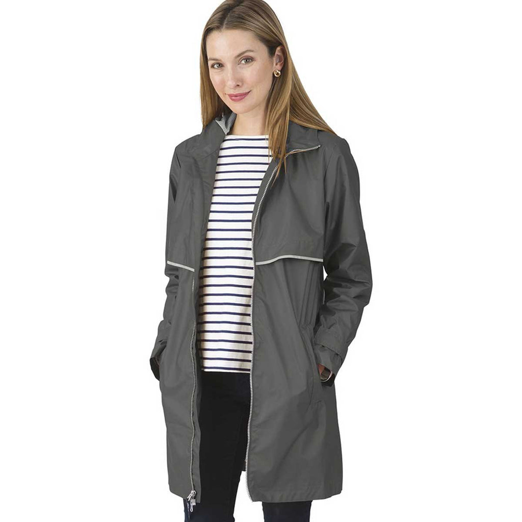 Charles River Women's Grey/Reflective New Englander Raincoat