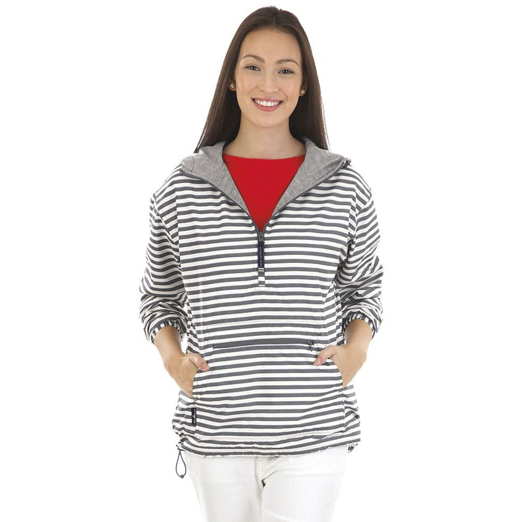 Charles River Women's Grey Stripe Chatham Anorak Print Pullover