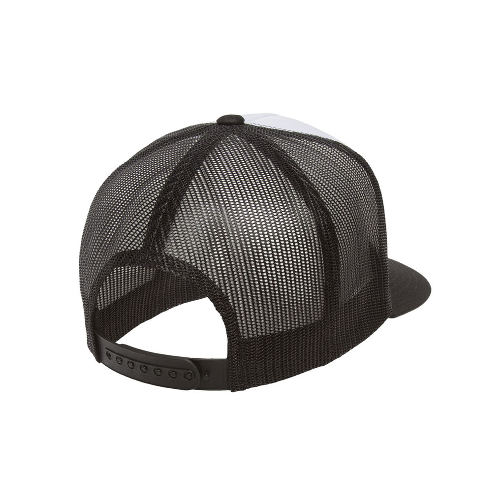 Yupoong Black/White Classic Trucker with White Front Panel Cap