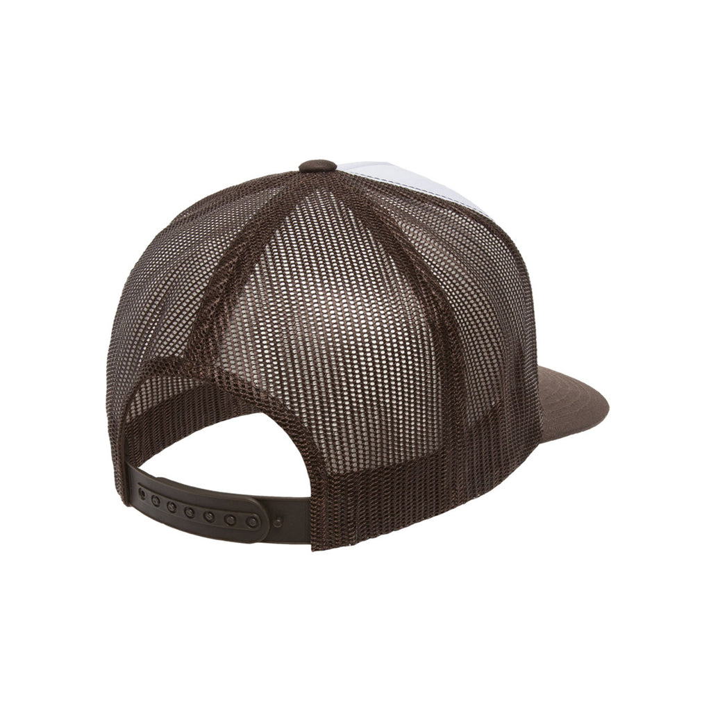 Yupoong Brown/White Classic Trucker with White Front Panel Cap