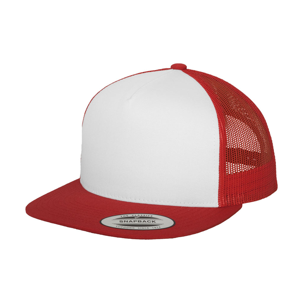 48b824454 Yupoong Red/White Classic Trucker with White Front Panel Cap