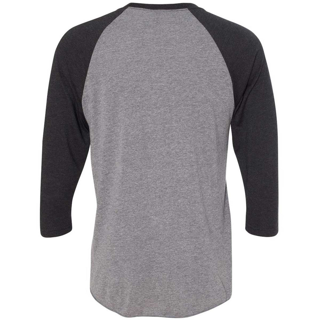 Next Level Unisex Vintage Black/Premium Heather Triblend 3/4-Sleeve Raglan Tee