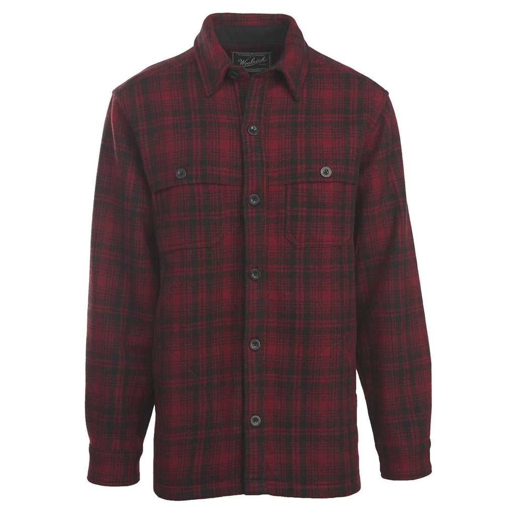 woolrich men 39 s red hunt wool stag shirt jacket. Black Bedroom Furniture Sets. Home Design Ideas