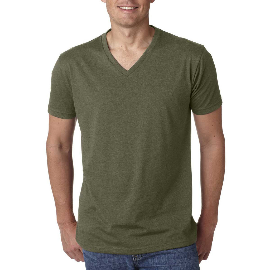 Next Level Men's Military Green Premium CVC V-Neck Tee