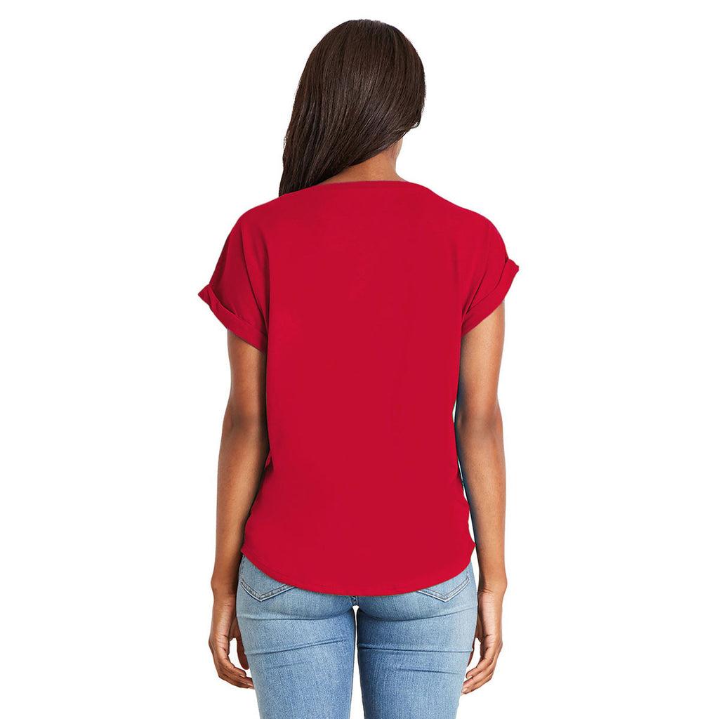 Next Level Women's Red Dolman With Rolled Sleeves