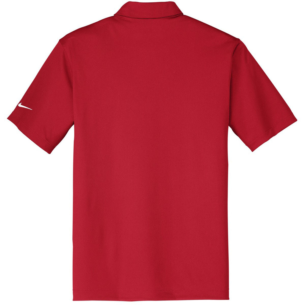 Nike Men's Red Dri-FIT Short Sleeve Vertical Mesh Polo