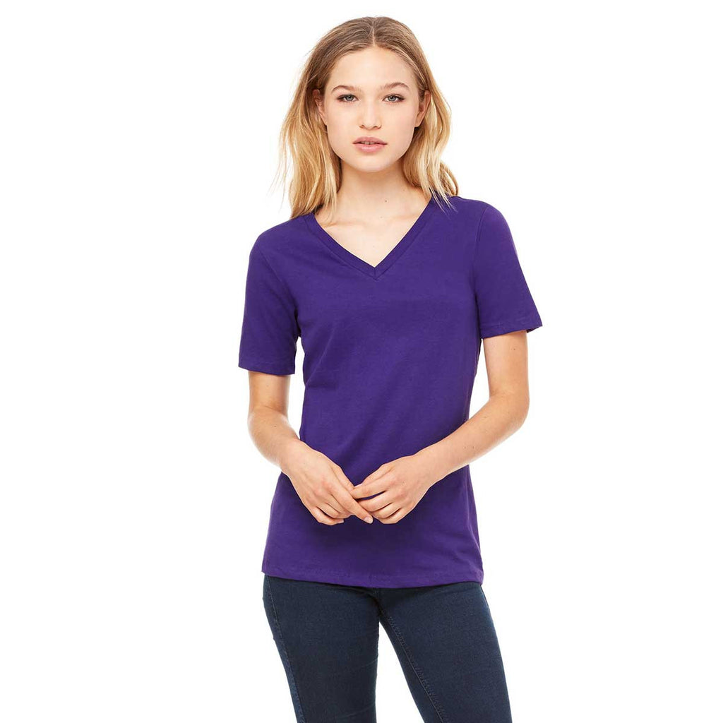 ffe592a87bcc95 Bella + Canvas Women's Team Purple Relaxed Jersey Short-Sleeve V-Neck T-.  ADD YOUR LOGO