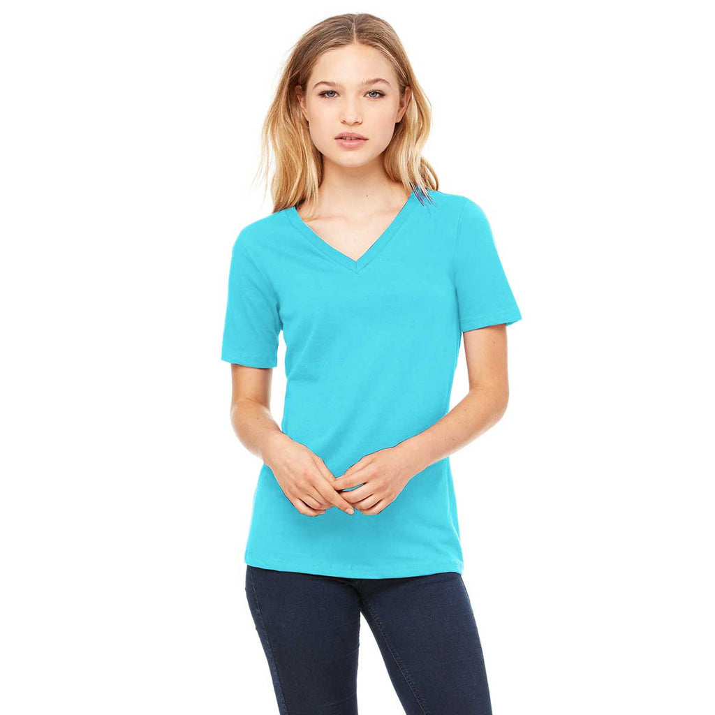 Bella canvas women 39 s turquoise relaxed jersey short for Bella shirts screen printing