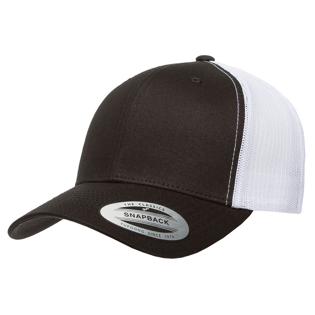 4f6f2da9a81 Yupoong Black White Adult Retro Trucker Cap