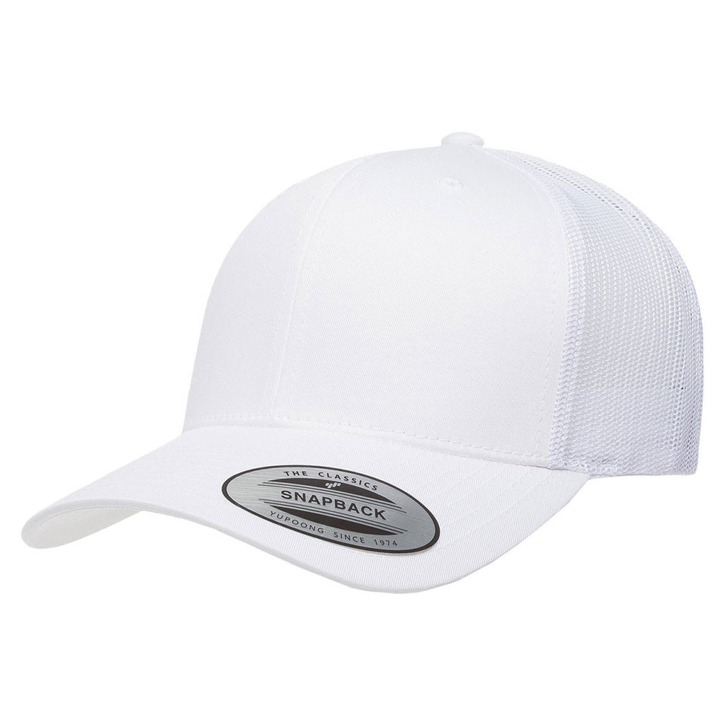 9eceeec224a19 Yupoong White Adult Retro Trucker Cap