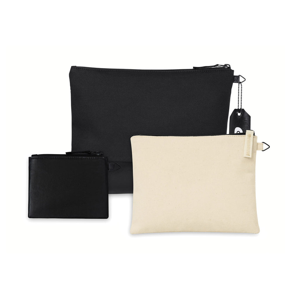 Gemline Black Natural Avery Cotton Zippered 3 Pouch Set