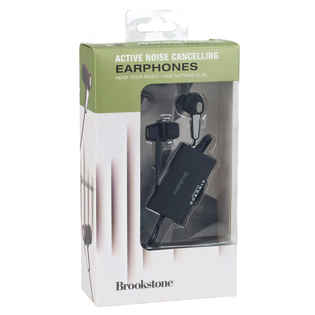 Brookstone Black Active Noise Cancelling Earbuds