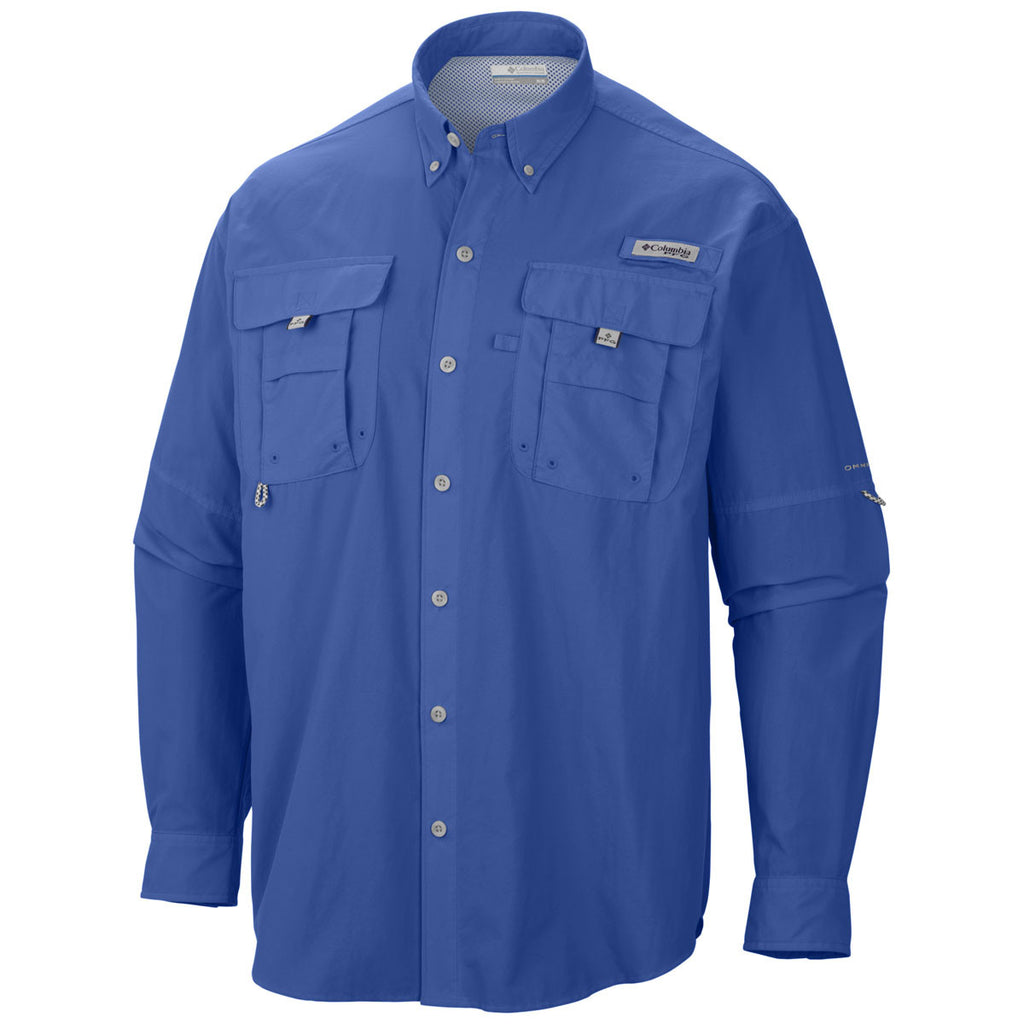 Columbia men 39 s vivid blue pfg bahama ii long sleeve shirt for Columbia shirts womens pfg