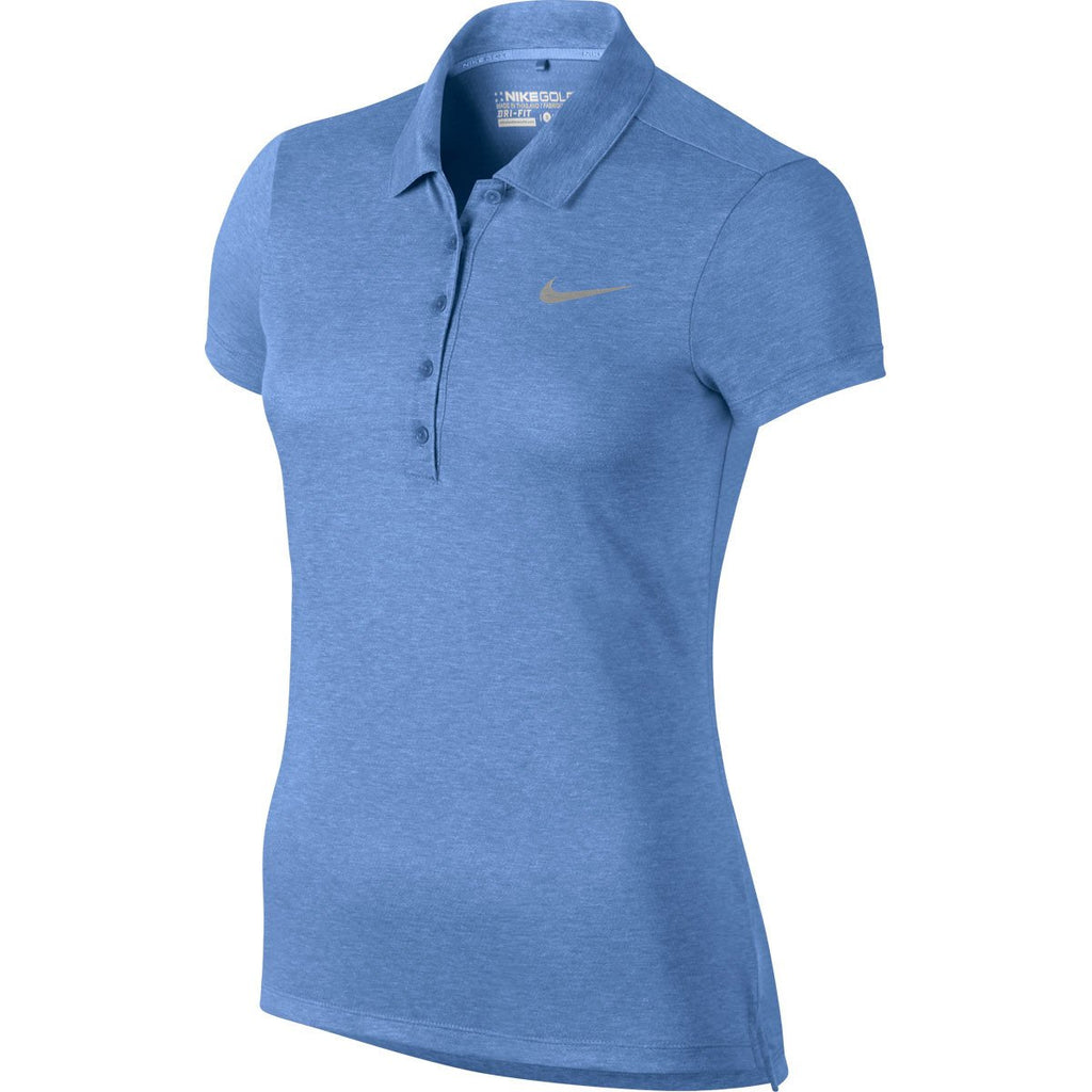 Product. Home; Nike Women's Chalk Blue/Metallic Silver Precision Heather  Polo