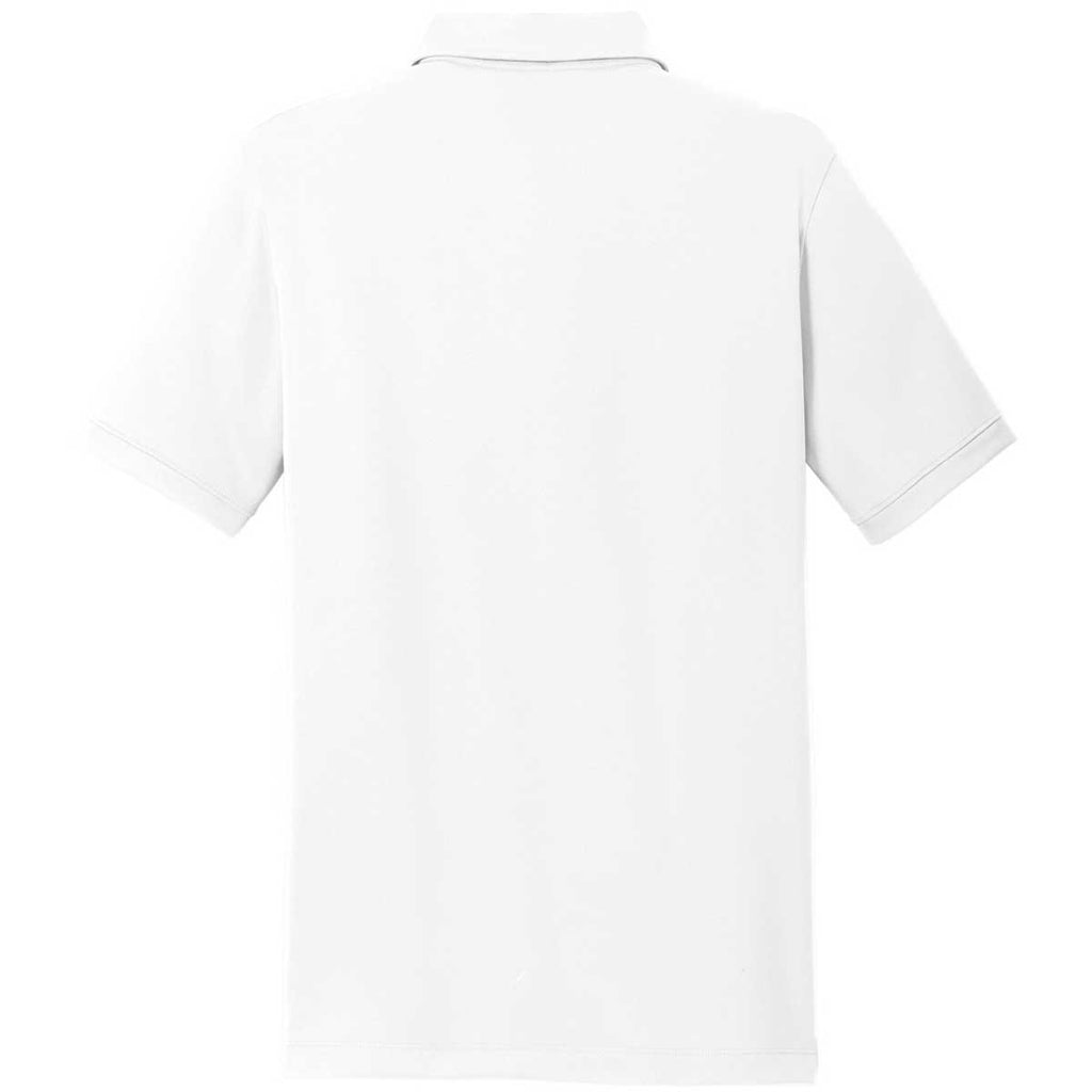 Nike Men's White Dri-FIT Solid Icon Pique Polo