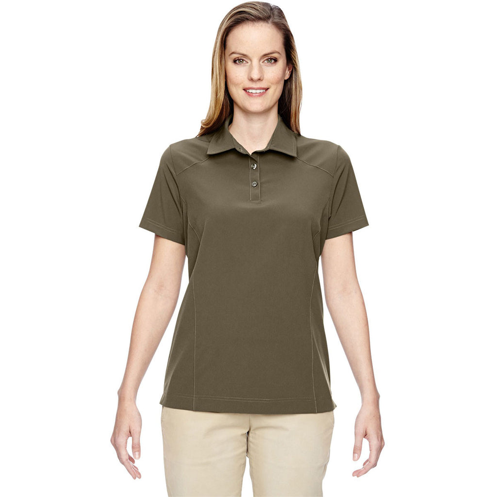 North End Women's Dark Oakmoss Excursion Crosscheck Woven Polo