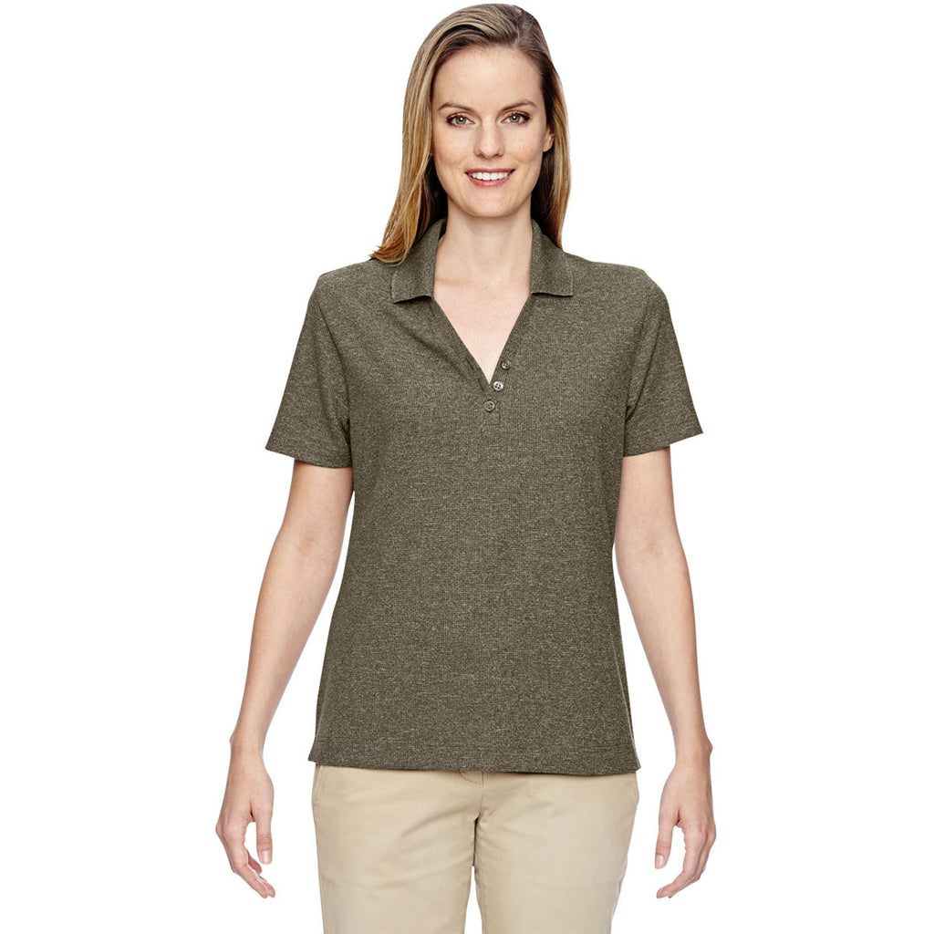 North End Women's Dark Oakmoss Excursion Nomad Performance Waffle Polo