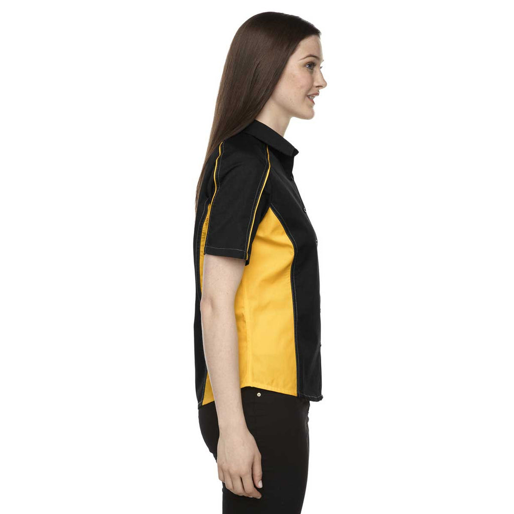 North End Women's Black/Campus Gold Fuse Colorblock Twill Shirt