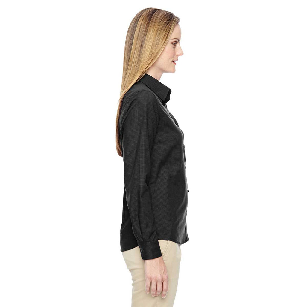 North End Women's Black Paramount Wrinkle-Resistant Twill Checkered Shirt
