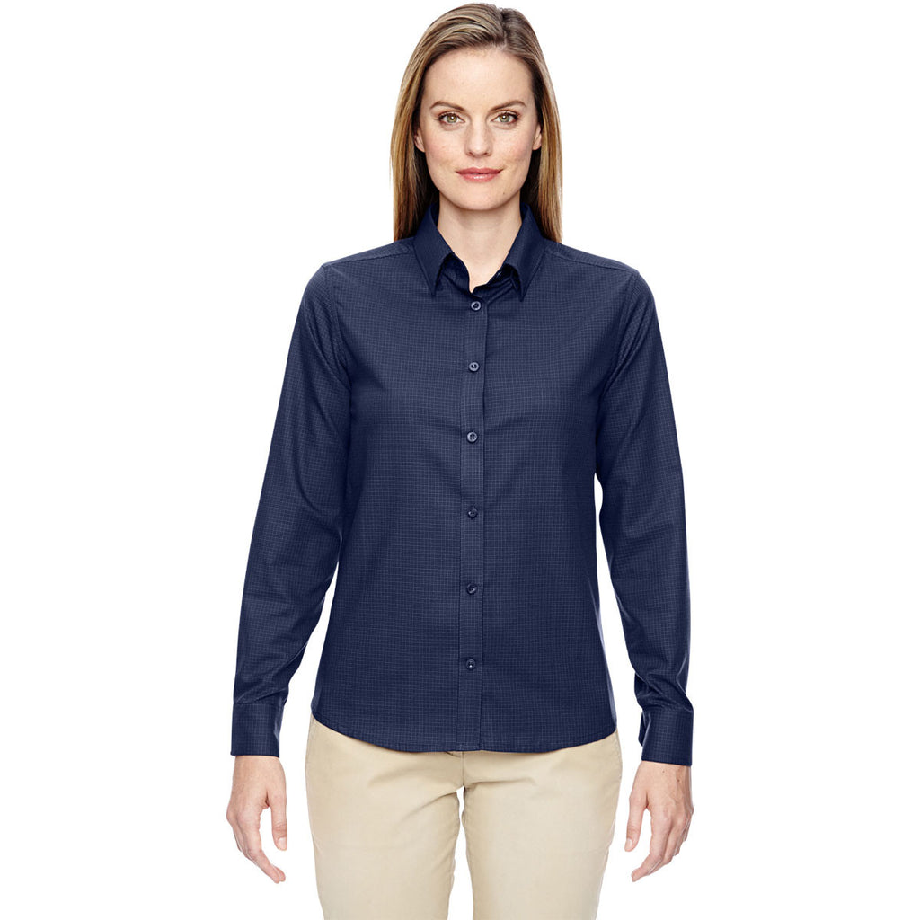 North End Women's Classic Navy Paramount Wrinkle-Resistant Twill Checkered Shirt