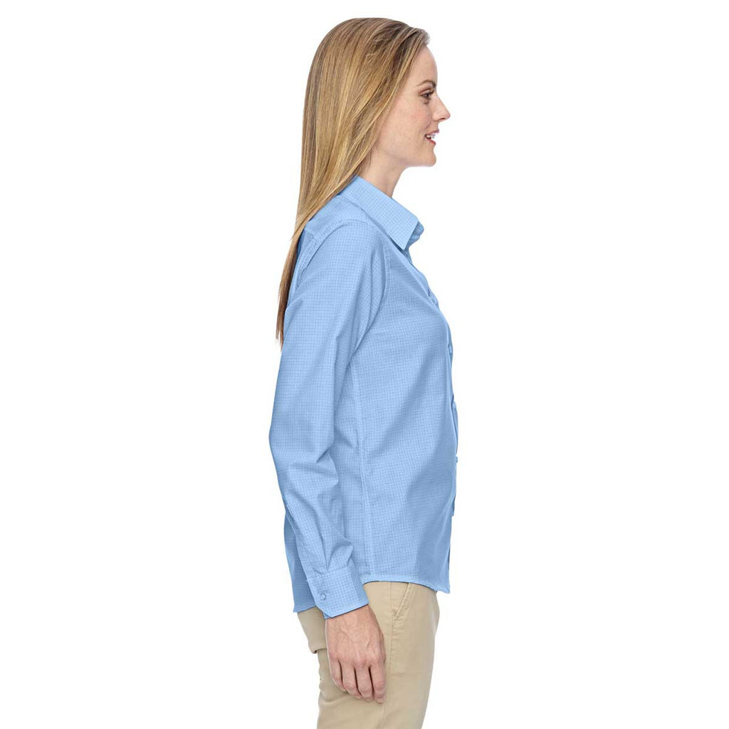 North End Women's Light Blue Paramount Wrinkle-Resistant Twill Checkered Shirt