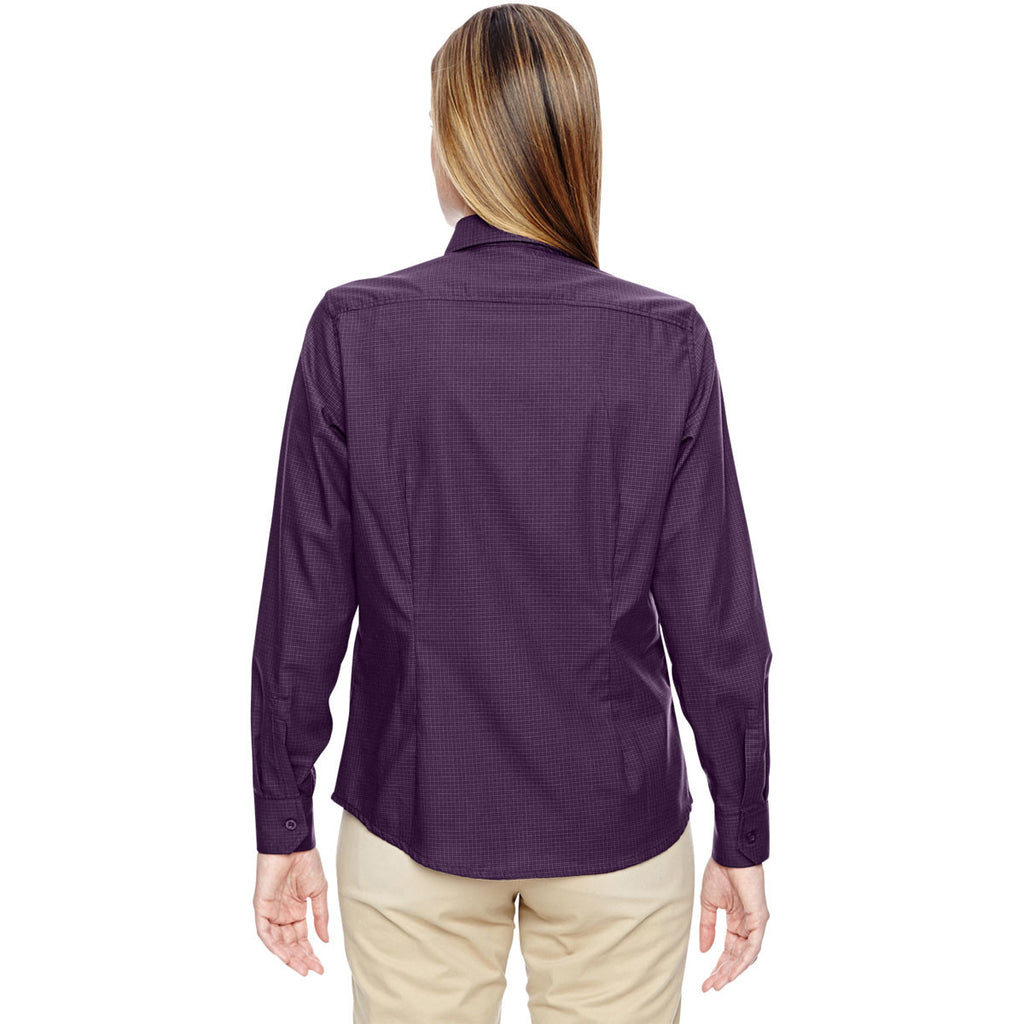 North End Women's Mulberry Purple Paramount Wrinkle-Resistant Twill Checkered Shirt