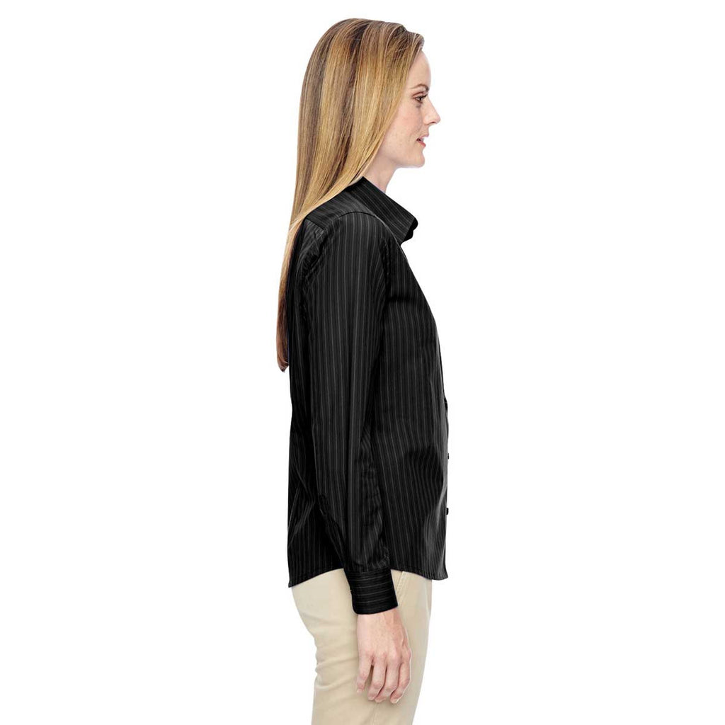 North End Women's Black Align Wrinkle-Resistant Dobby Vertical Striped Shirt
