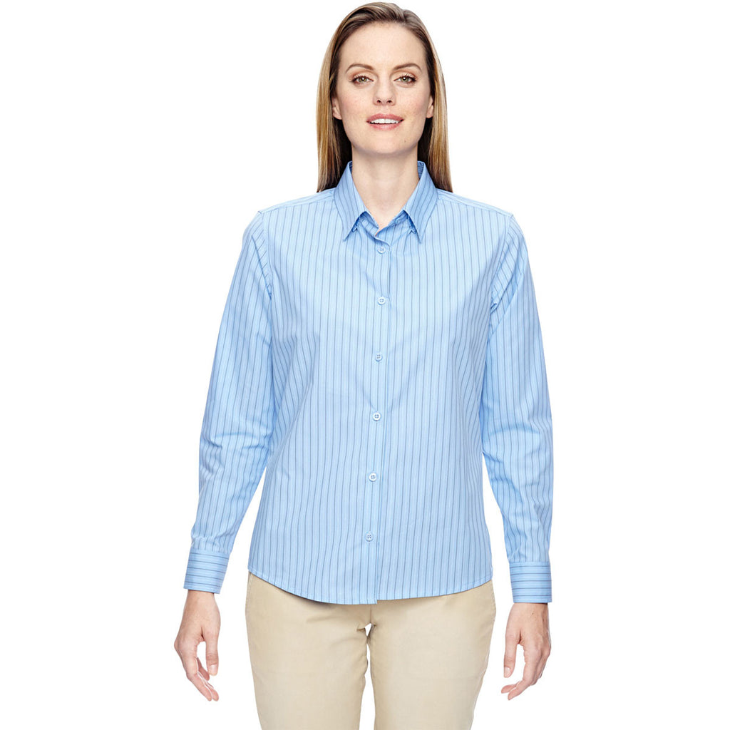 North End Women's Light Blue Align Wrinkle-Resistant Dobby Vertical Striped Shirt