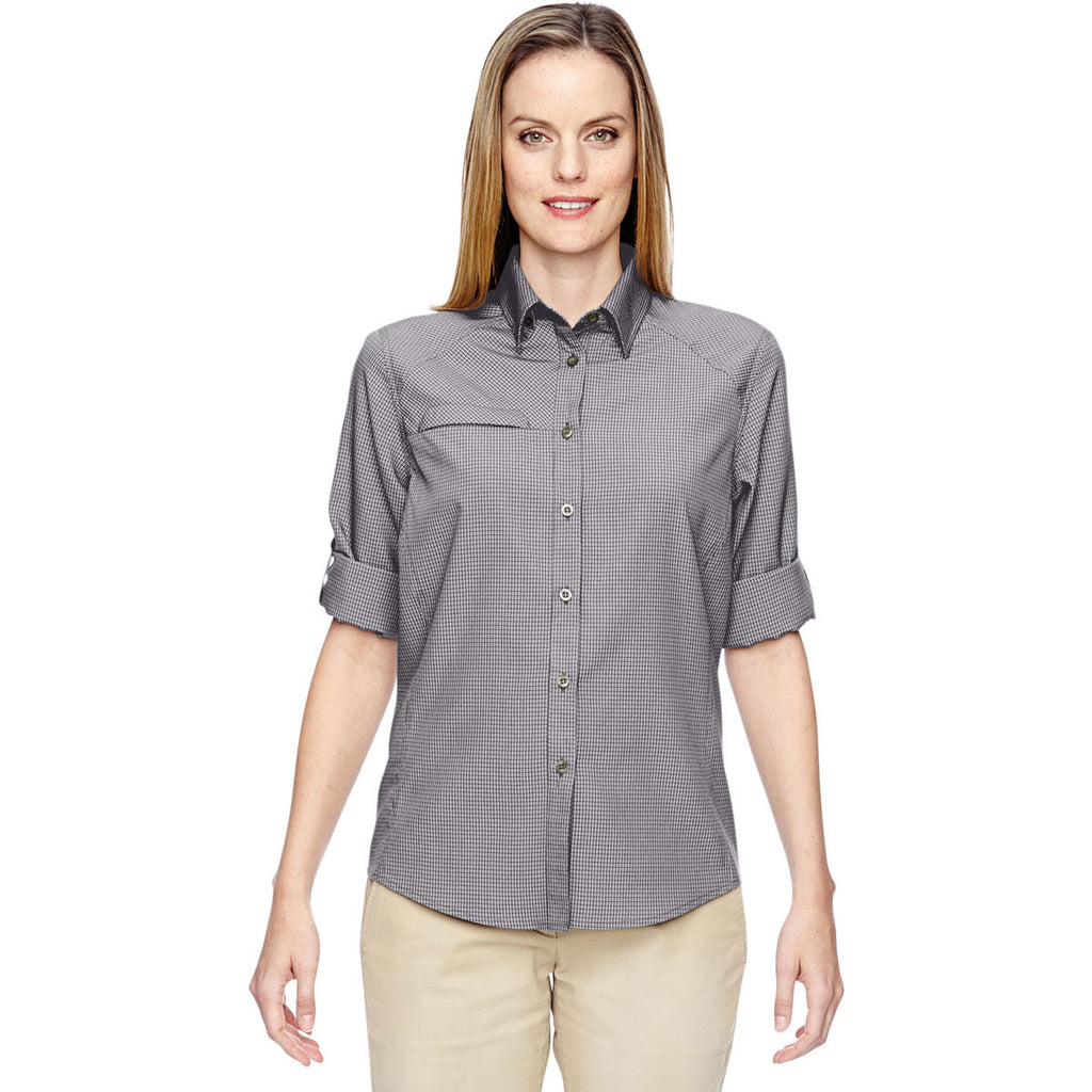 North End Women's Graphite Excursion F.B.C. Textured Performance Shirt
