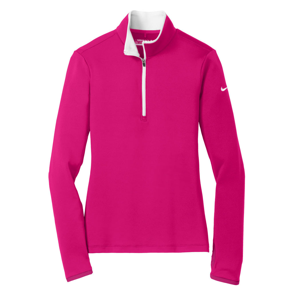 cce533c2 Nike Women's Bright Pink/White Dri-FIT Stretch 1/2-Zip. ADD YOUR LOGO