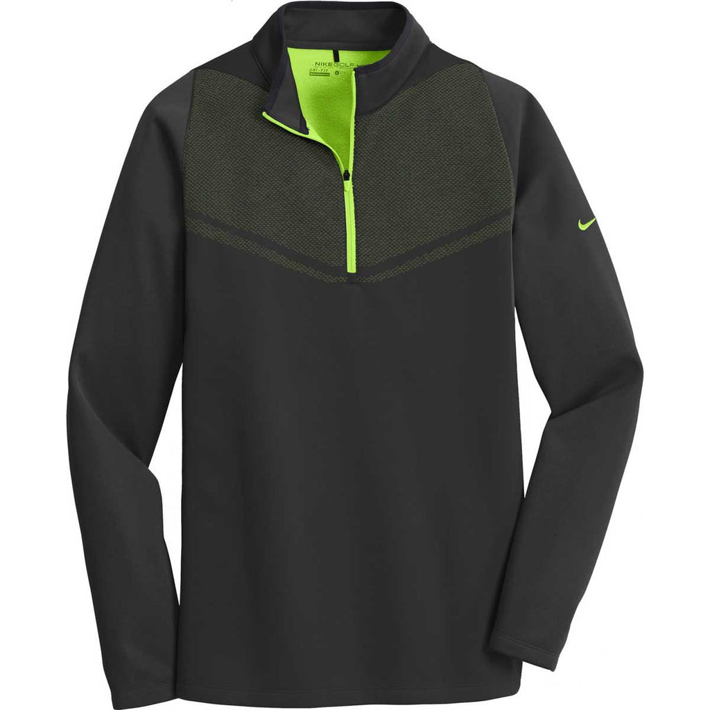 009f42a6b659 Nike Golf Men s Black Chartreuse Therma-FIT Hypervis 1 2-Zip Cover ...