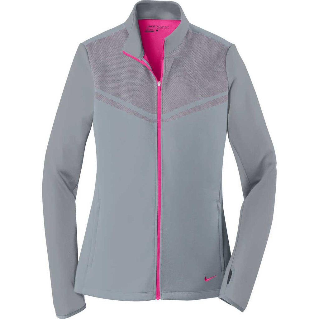9ddce7fc Nike Golf Women's Cool Grey/Vivid Pink Therma-FIT Hypervis Full-Zip Jacket.  ADD YOUR LOGO