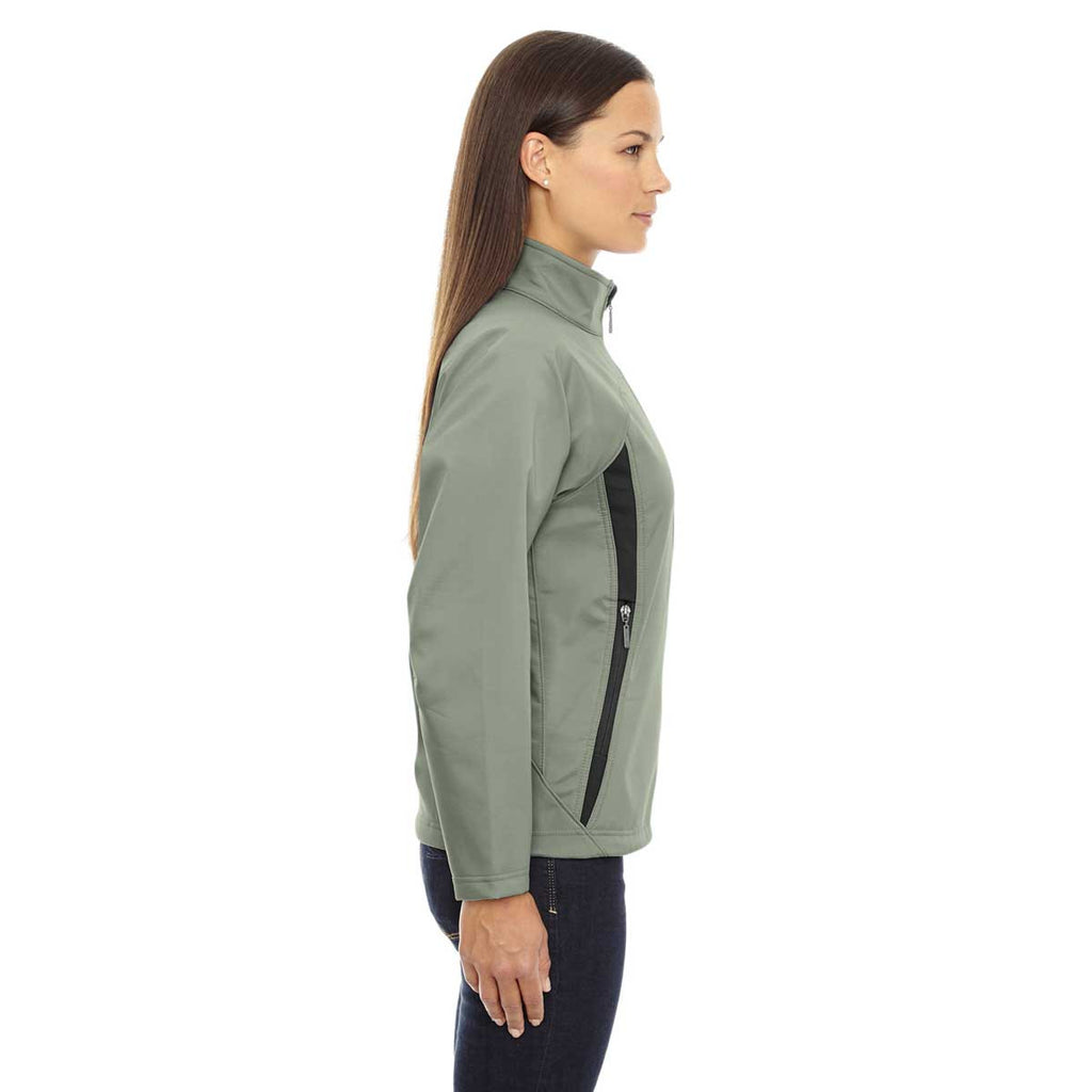 North End Women's Celadon Three-Layer Fleece Bonded Performance Soft Shell Jacket