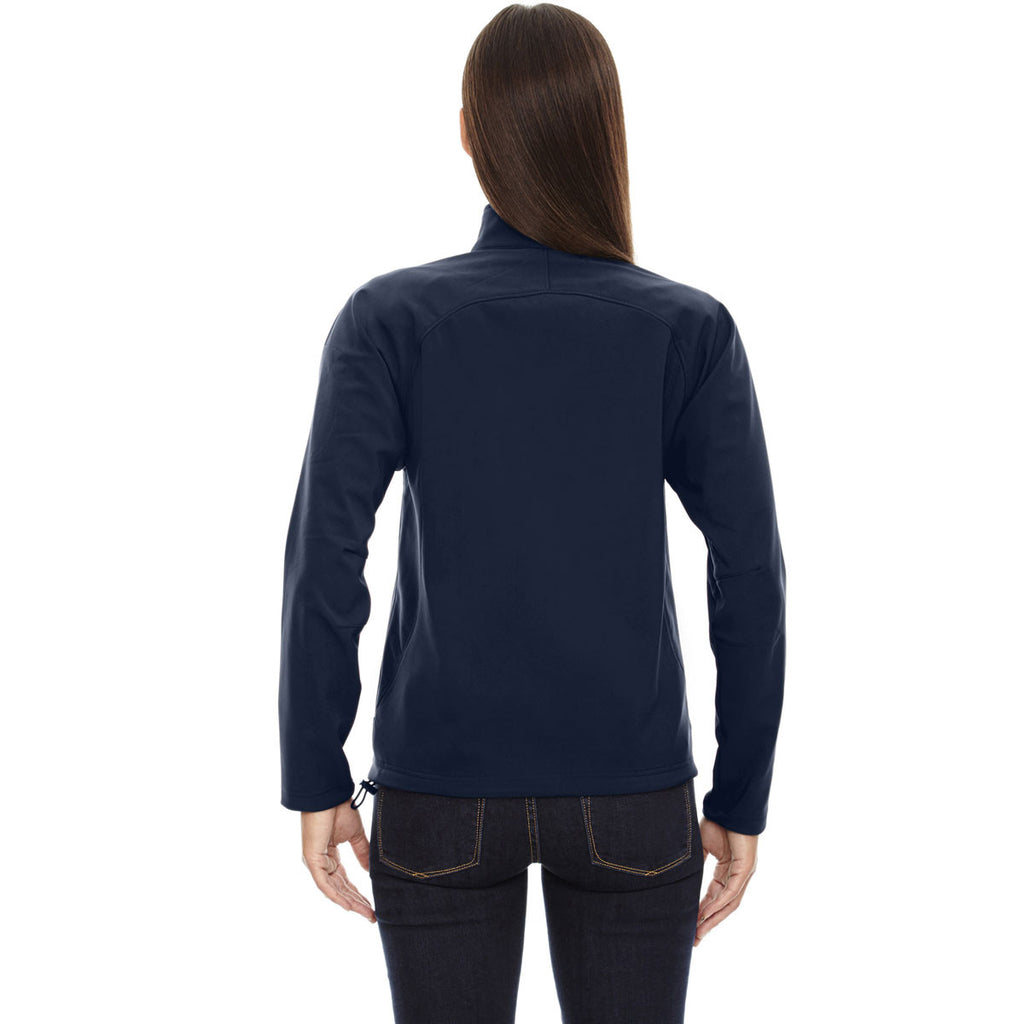 North End Women's Midnight Navy Three-Layer Fleece Bonded Performance Soft Shell Jacket