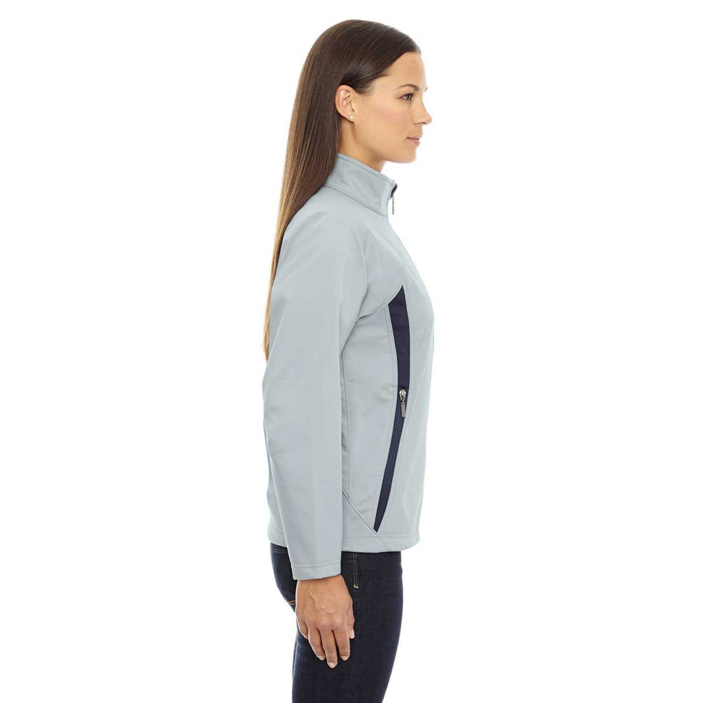 North End Women's Opal Blue Three-Layer Fleece Bonded Performance Soft Shell Jacket