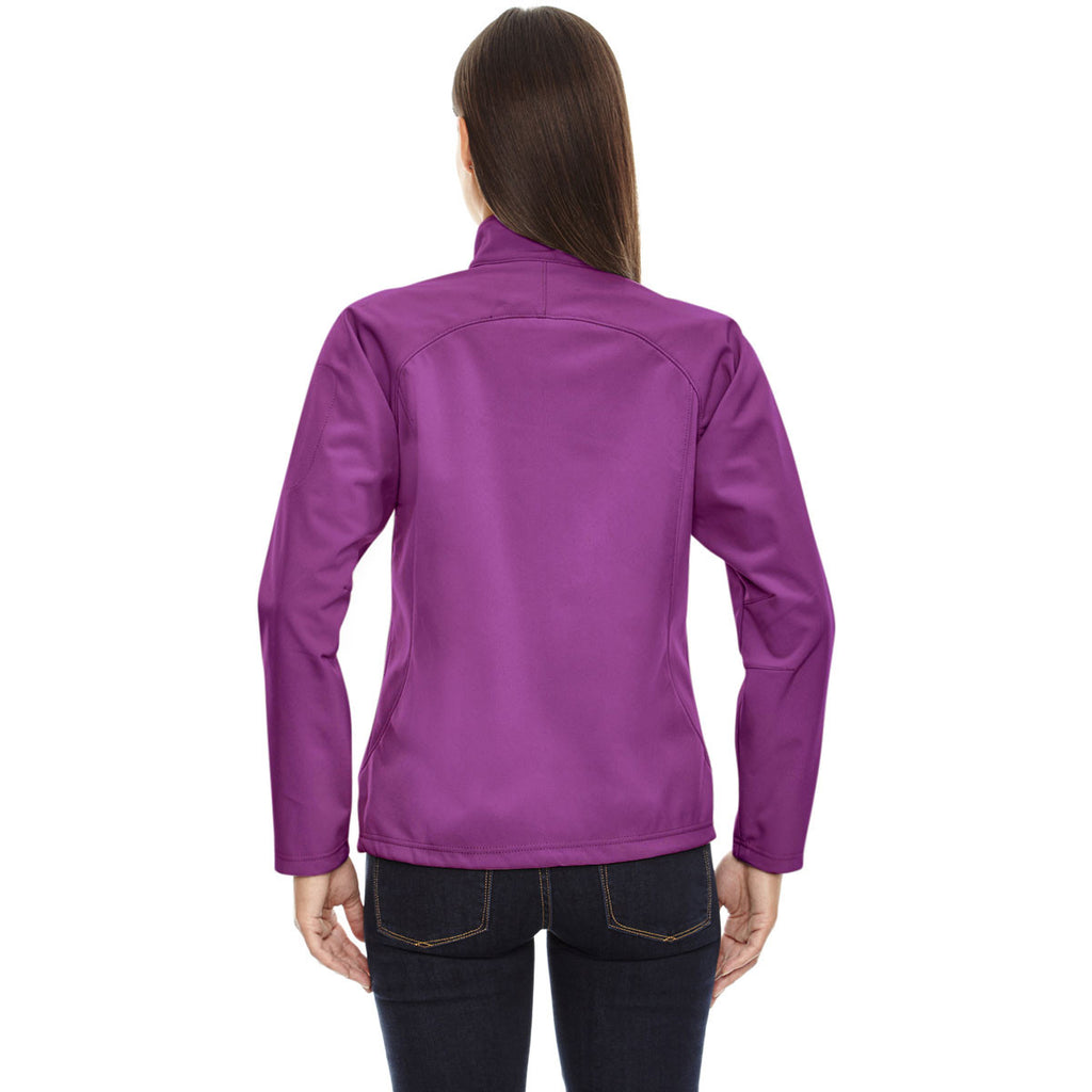 North End Women's Plum Rose Three-Layer Fleece Bonded Performance Soft Shell Jacket