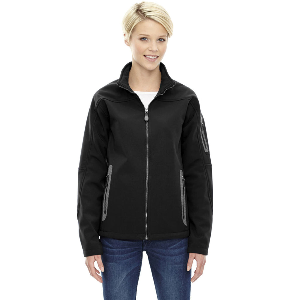North End Women's' Black Three-Layer Fleece Bonded Soft Shell Technical Jacket