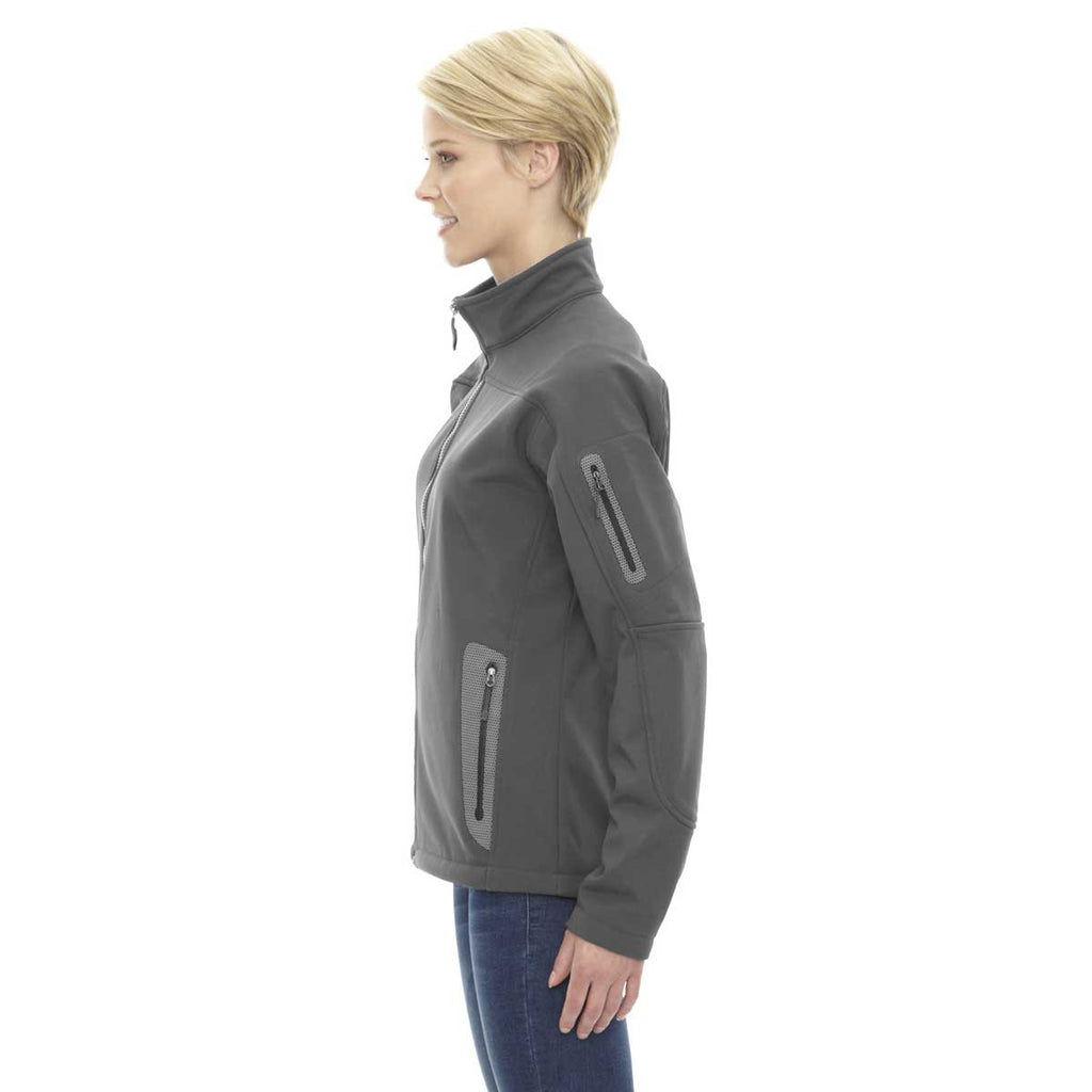 North End Women's' Graphite Three-Layer Fleece Bonded Soft Shell Technical Jacket