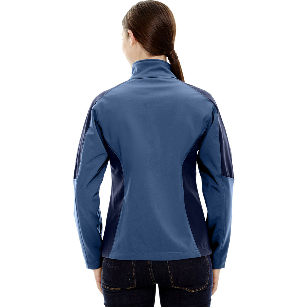 North End Women's Blue Ridge Compass Colorblock Three-Layer Fleece Bonded Soft Shell Jacket
