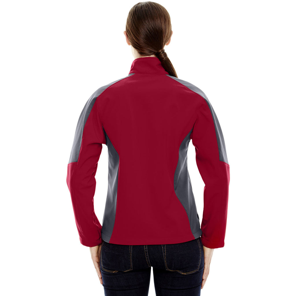 North End Women's Molten Red Compass Colorblock Three-Layer Fleece Bonded Soft Shell Jacket