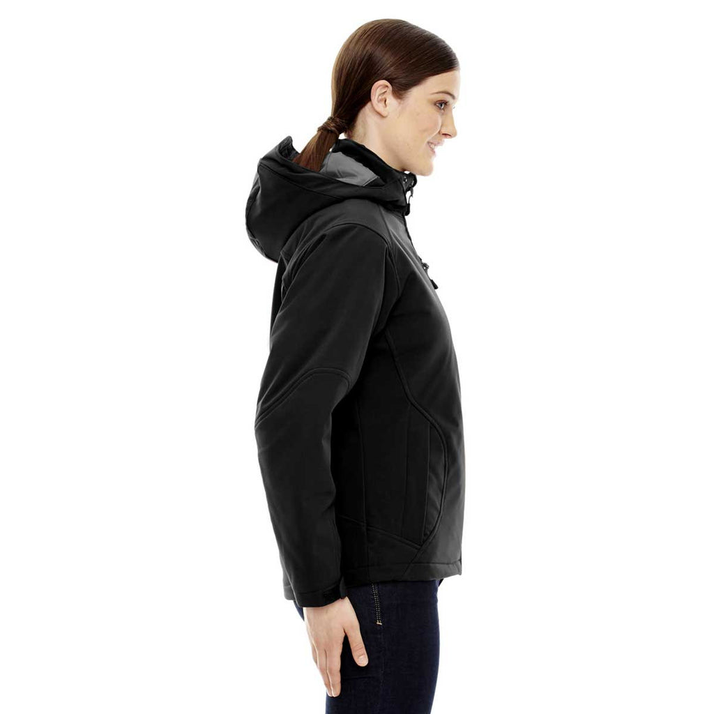 North End Women's Black Glacier Insulated Jacket with Detachable Hood