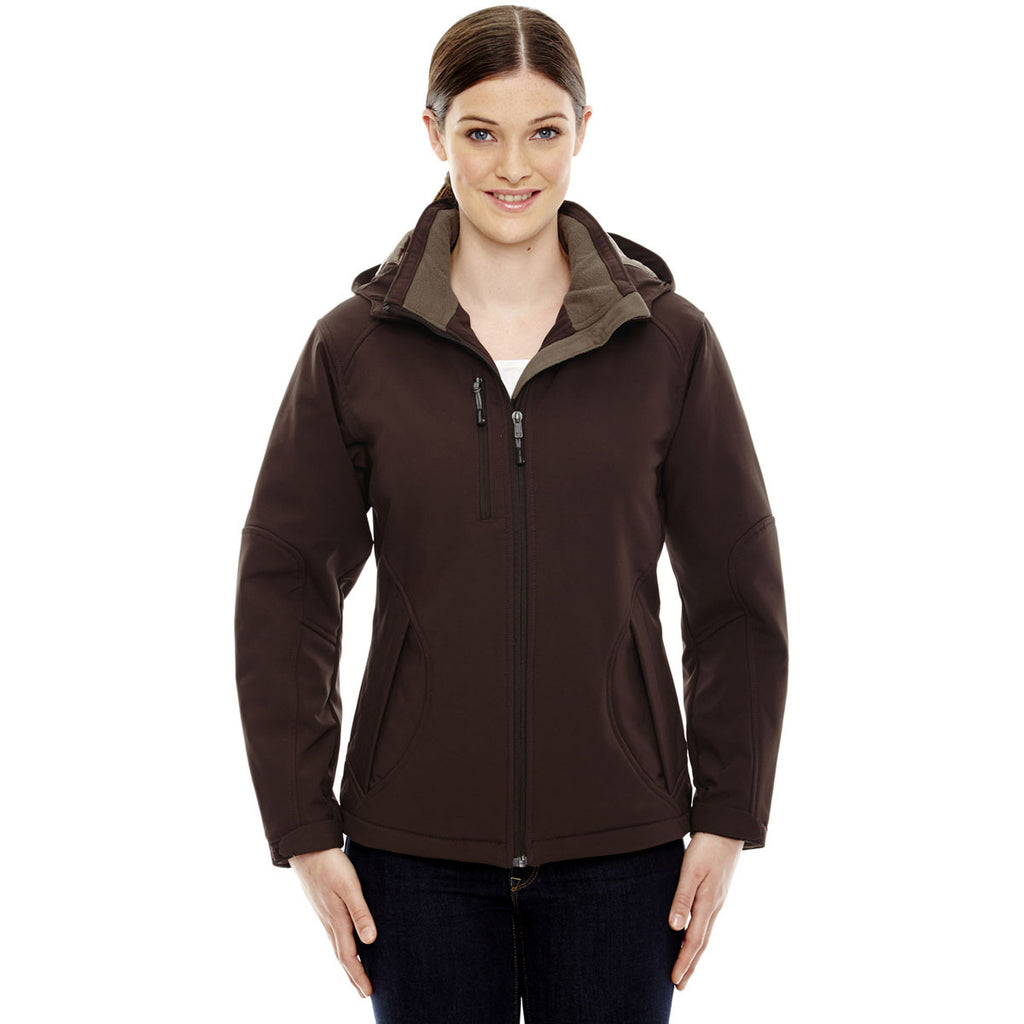 North End Women's Dark Chocolte Glacier Insulated Jacket with Detachable Hood