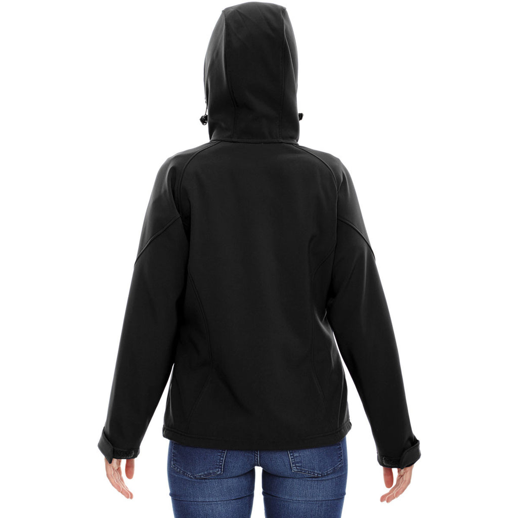 North End Women's Black Prospect Two-Layer Fleece Bonded Soft Shell Hooded Jacket