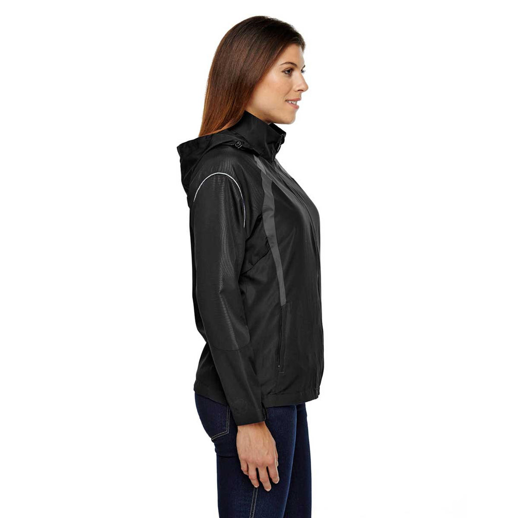 North End Women's Black Sirius Jacket with Embossed Print