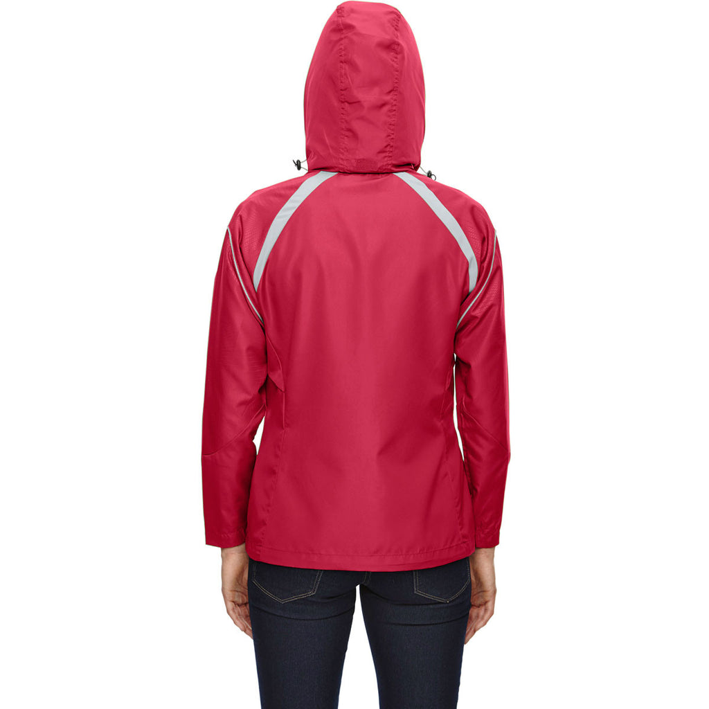 North End Women's Olympic Red Sirius Jacket with Embossed Print