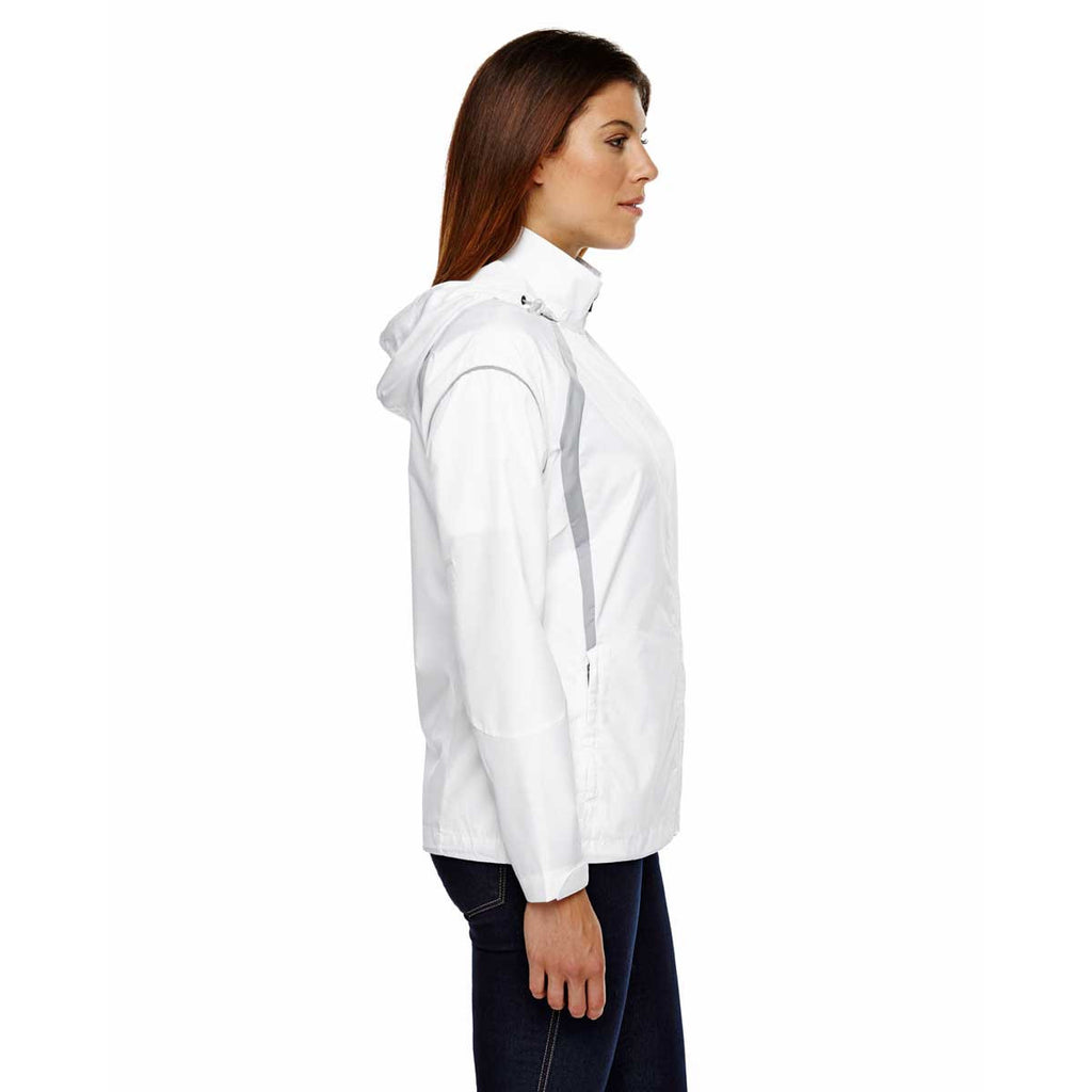 North End Women's White Sirius Jacket with Embossed Print