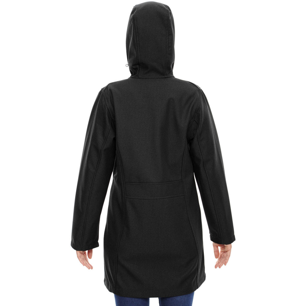 North End Women's Black City Textured Three-Layer Fleece Bonded Soft Shell Jacket