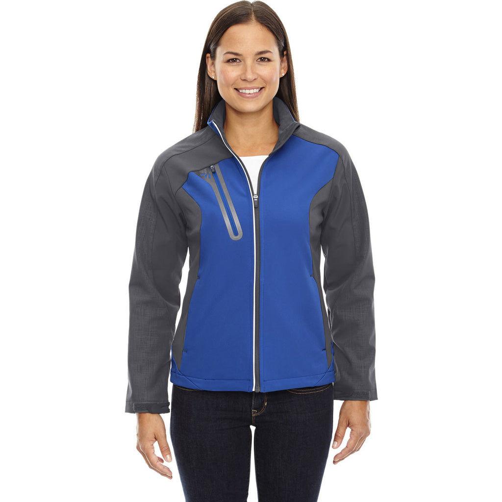 North End Women's Nautical Blue Terrain Colorblock Soft Shell with Embossed Print